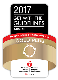 2017 Get with the Guidelines Stroke Gold Plus  Award:American Heart Association, American Stroke Association